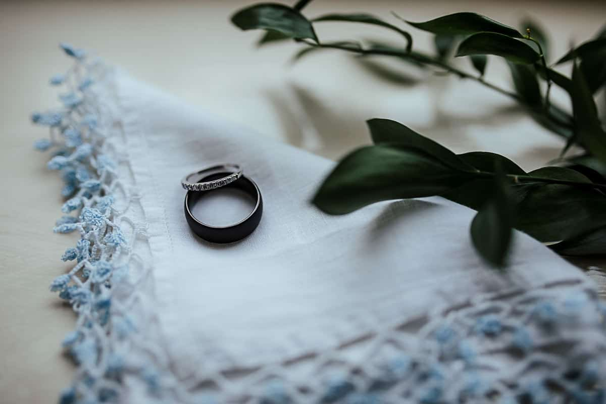 white gold and black wedding rings