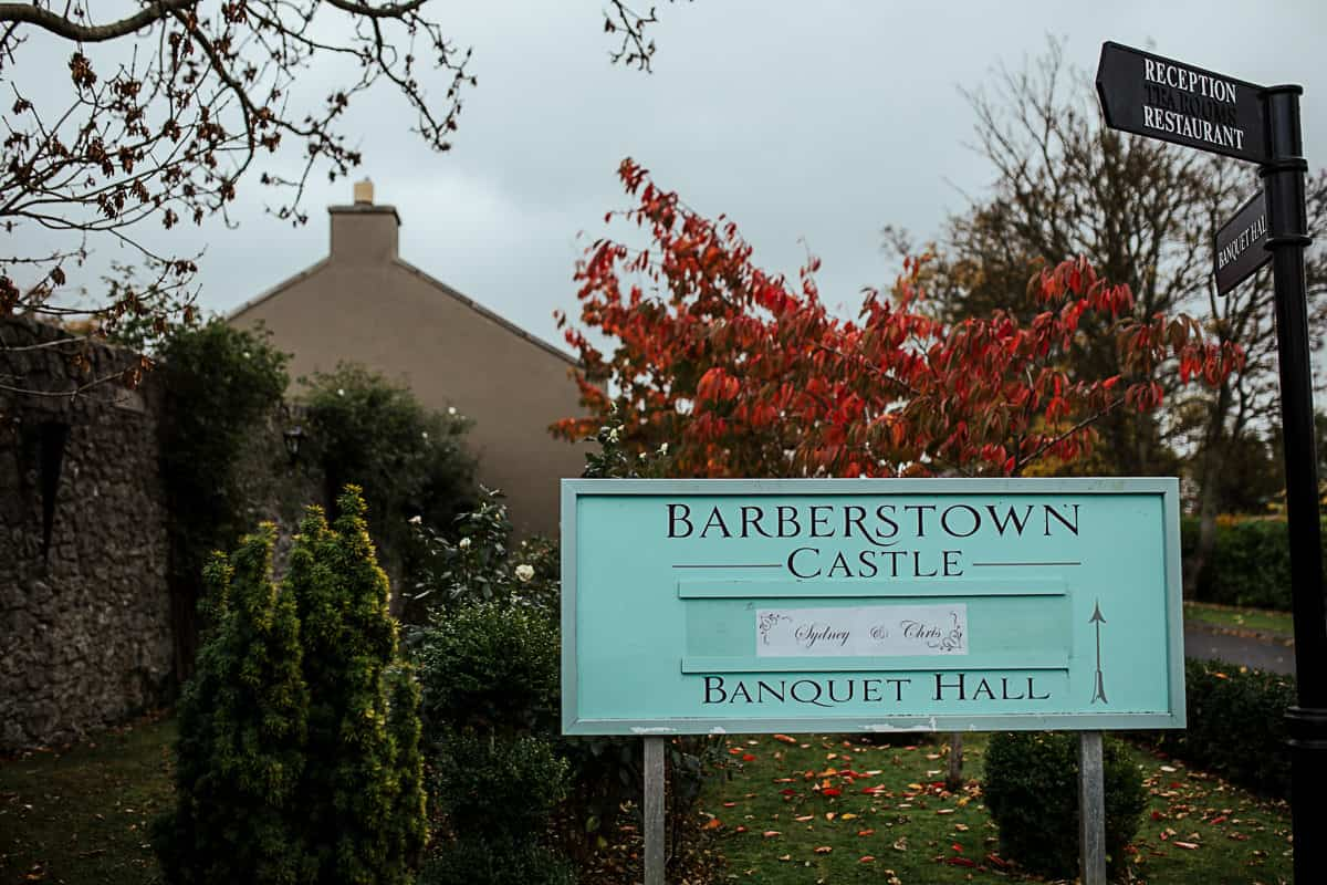 barberstown castle wedding sign