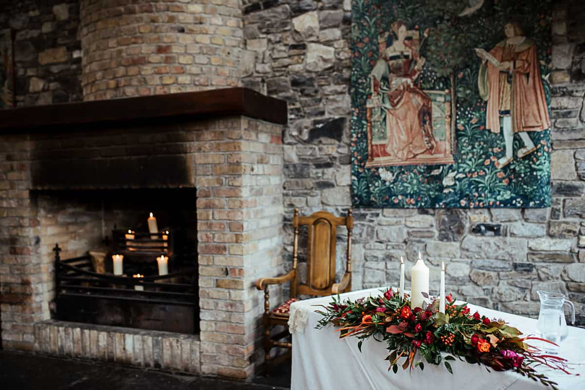 ceremony room decor in barberstown castle