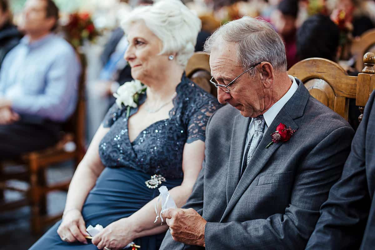 bride's grandfather performing ring warming ceremony