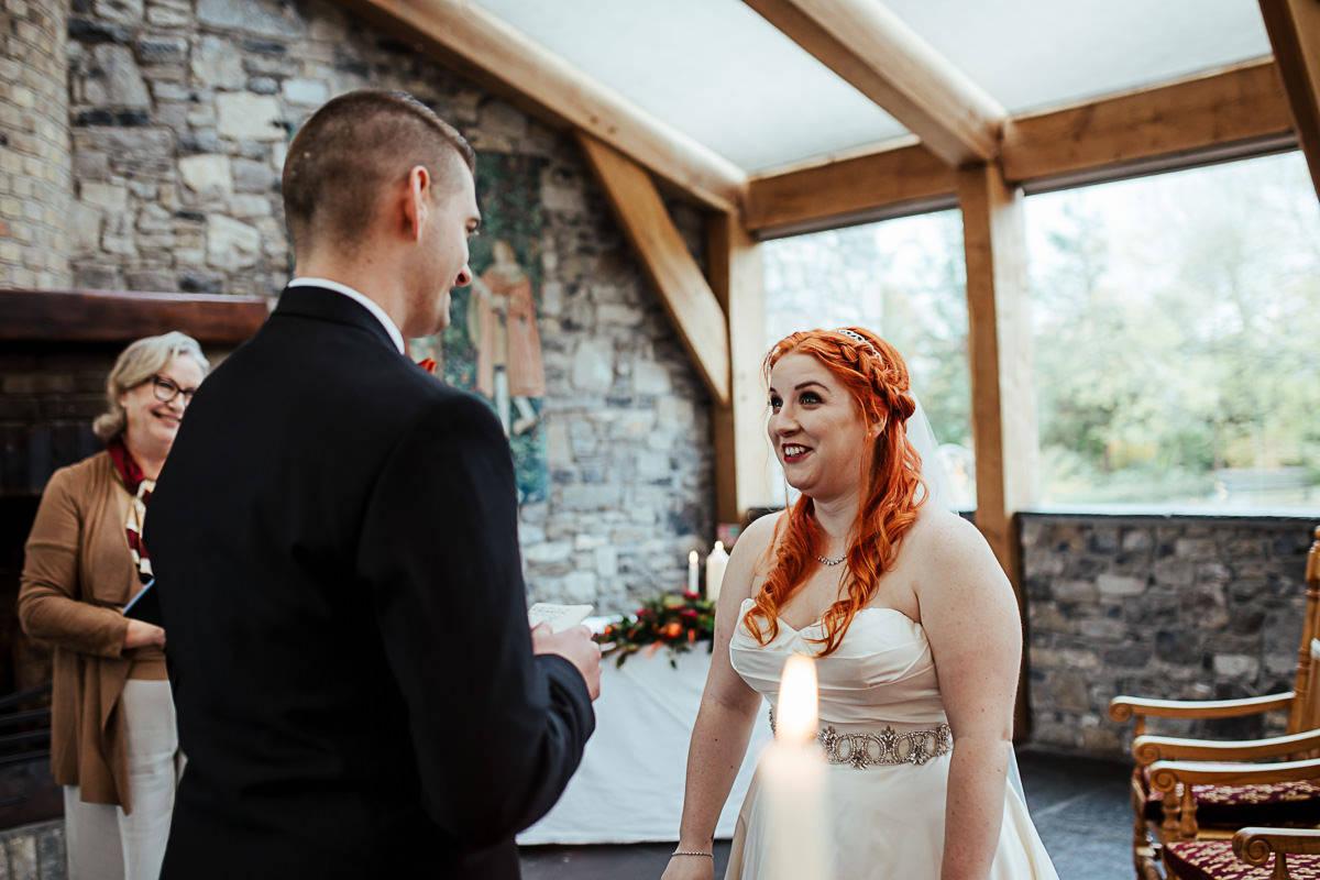 bride listening to groom's vows barberstown castle wedding
