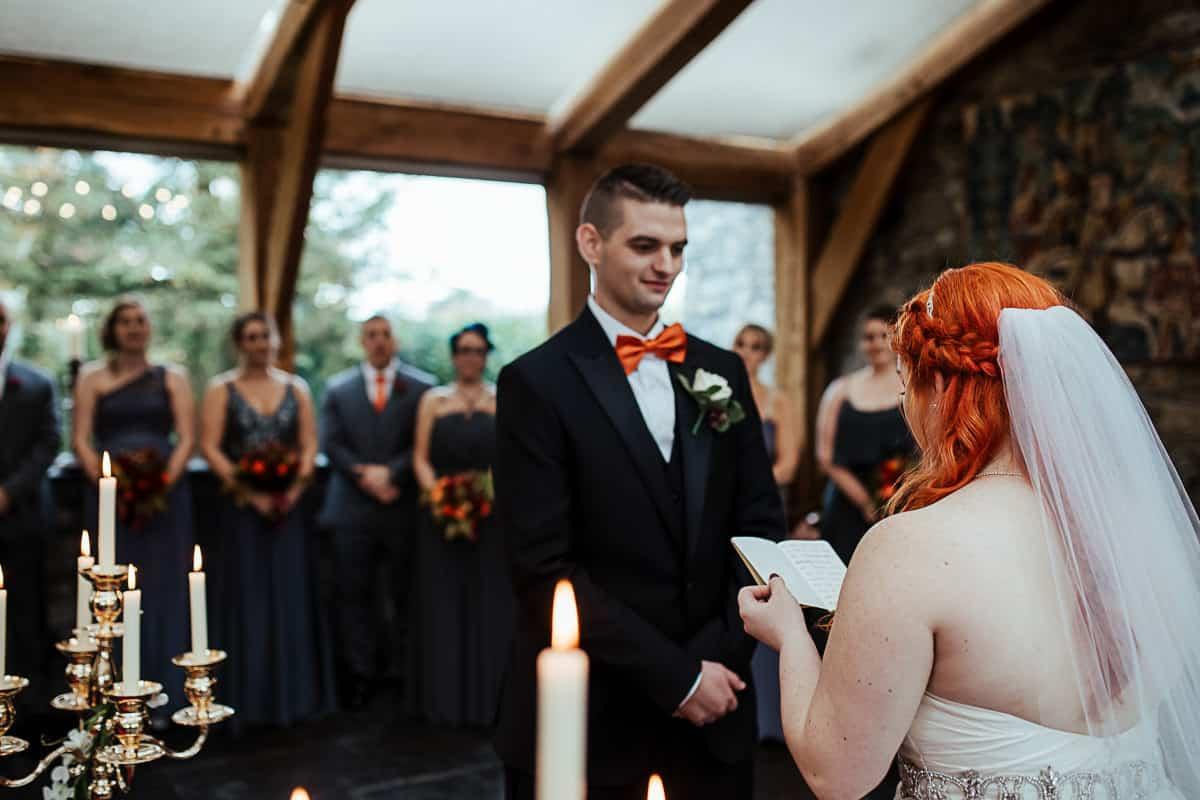 bride reading her wedding vows spiritual wedding ceremony