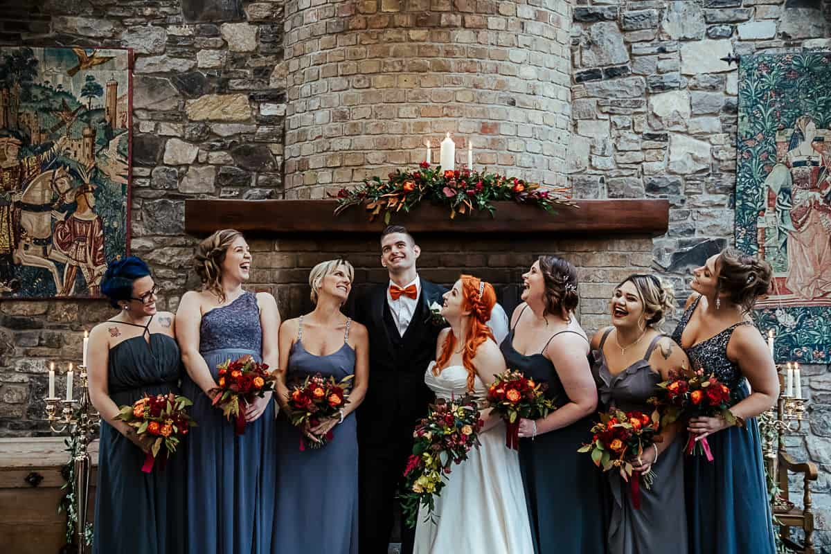 wedding couple with bridesmaids in grey barberstown castle wedding