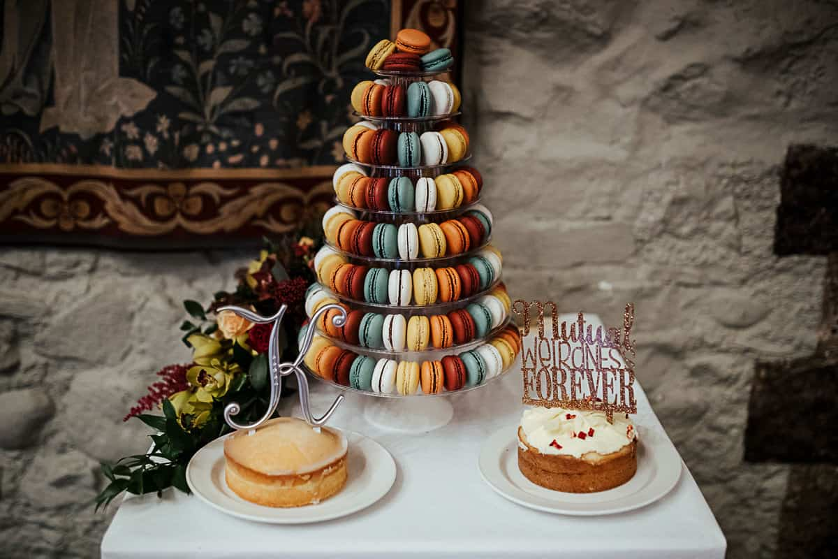colorful macaroon wedding cake blue white orange