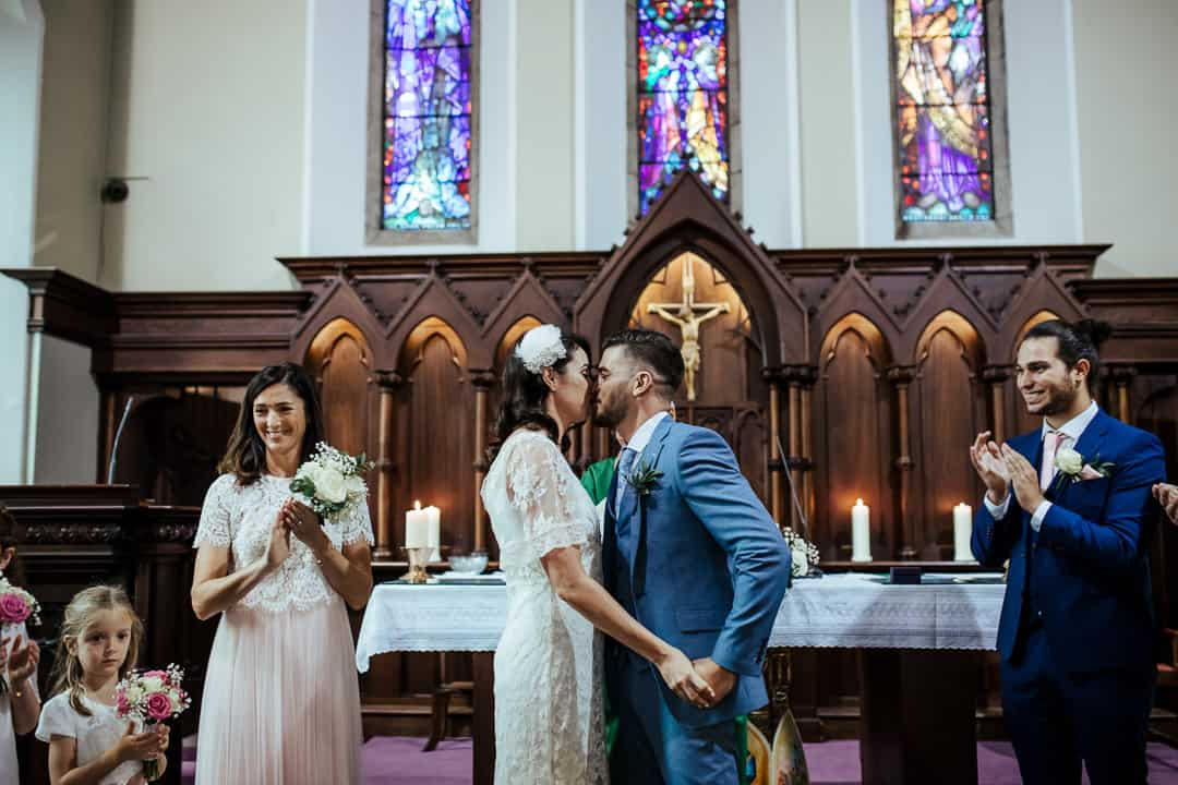 first kiss church wedding ceremony ireland wedding photographer