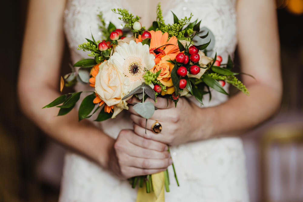 autumn bridal flowers orange and red flowers and berries
