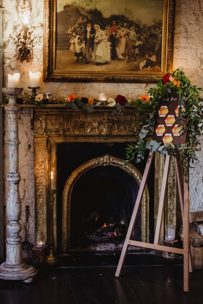 autumn wedding at anglers rest dublin seating plan on an easel