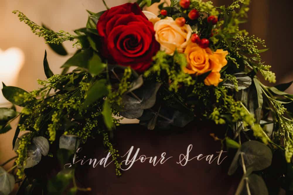 wedding seating plan flower decor