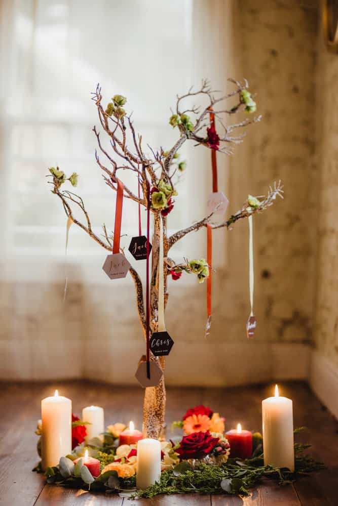 wedding escort card tree autumn wedding ideas