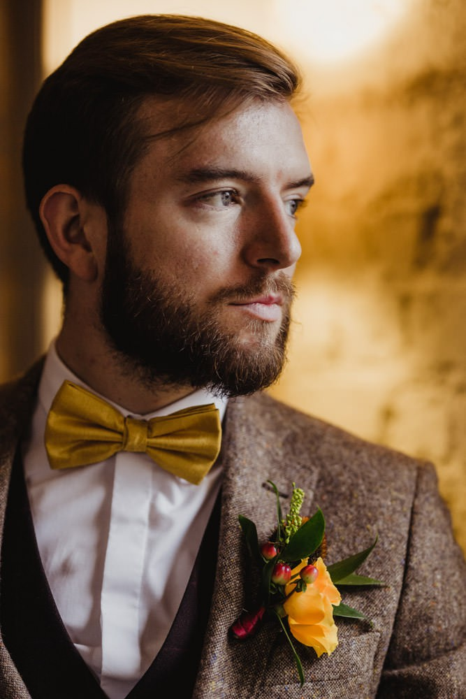 brown tweed suit mustard bow time autumn groomswear ideas