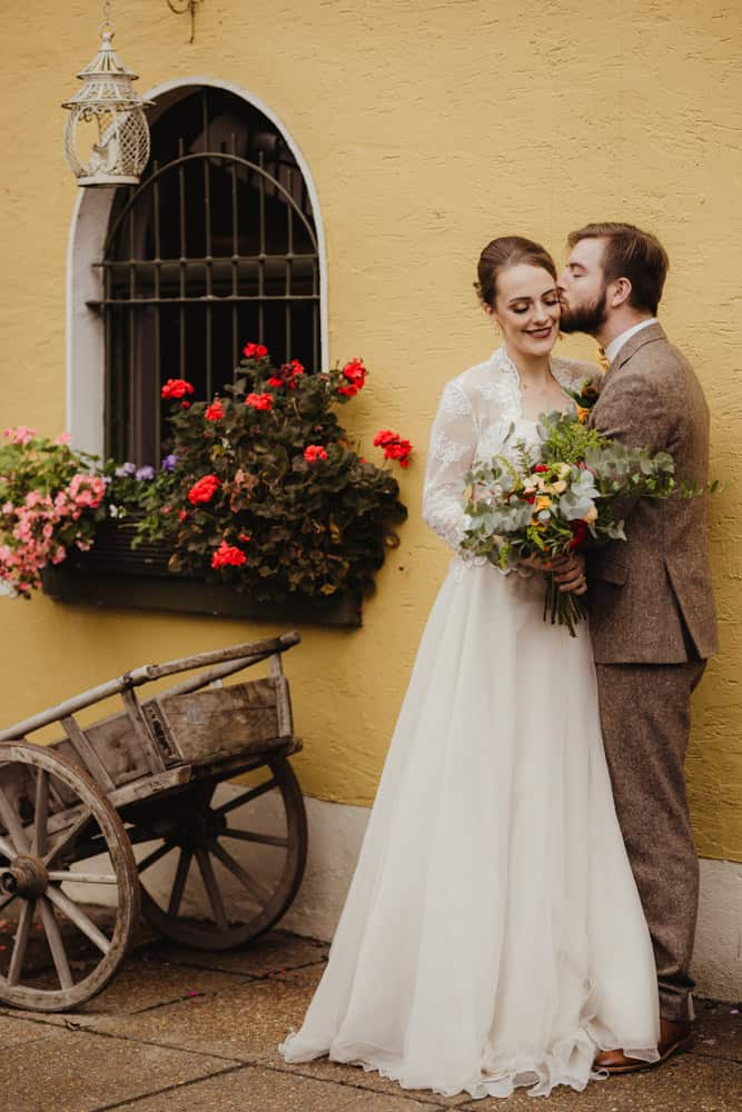 autumn wedding in dublin anglers rest wedding dress with jacket