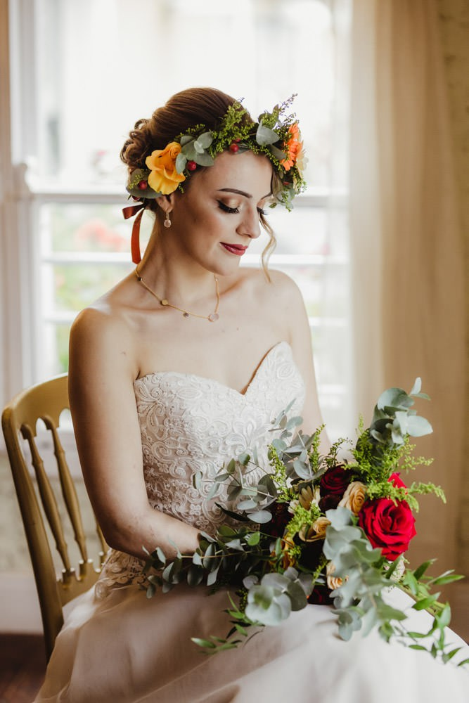 whimsical bridal look with flower crown sweetheart shape neckline