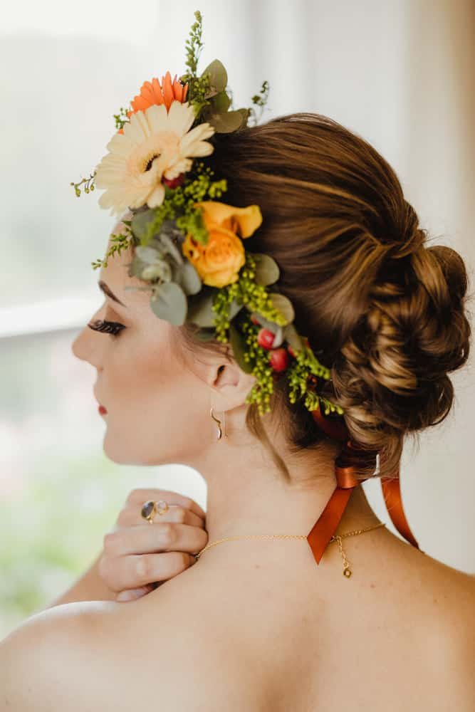 autumnal flower crown for bride