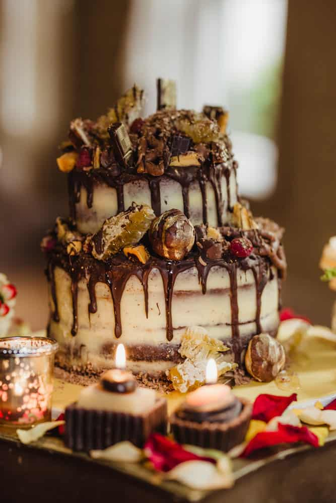 decadent chocoalte wedding cake with belgian chocoalte and honeycomb