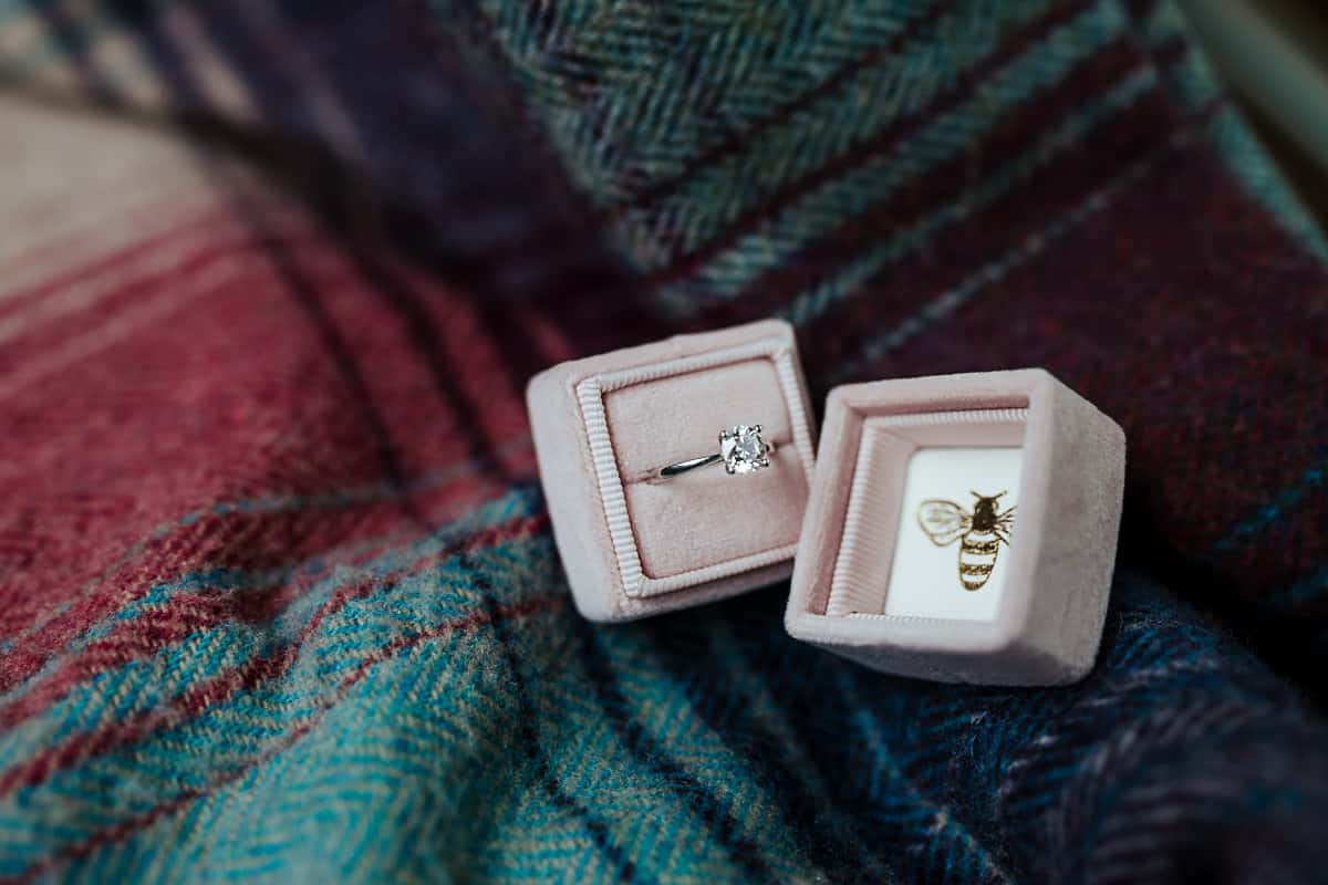 diamond engagement ring in a velvet pink bee box