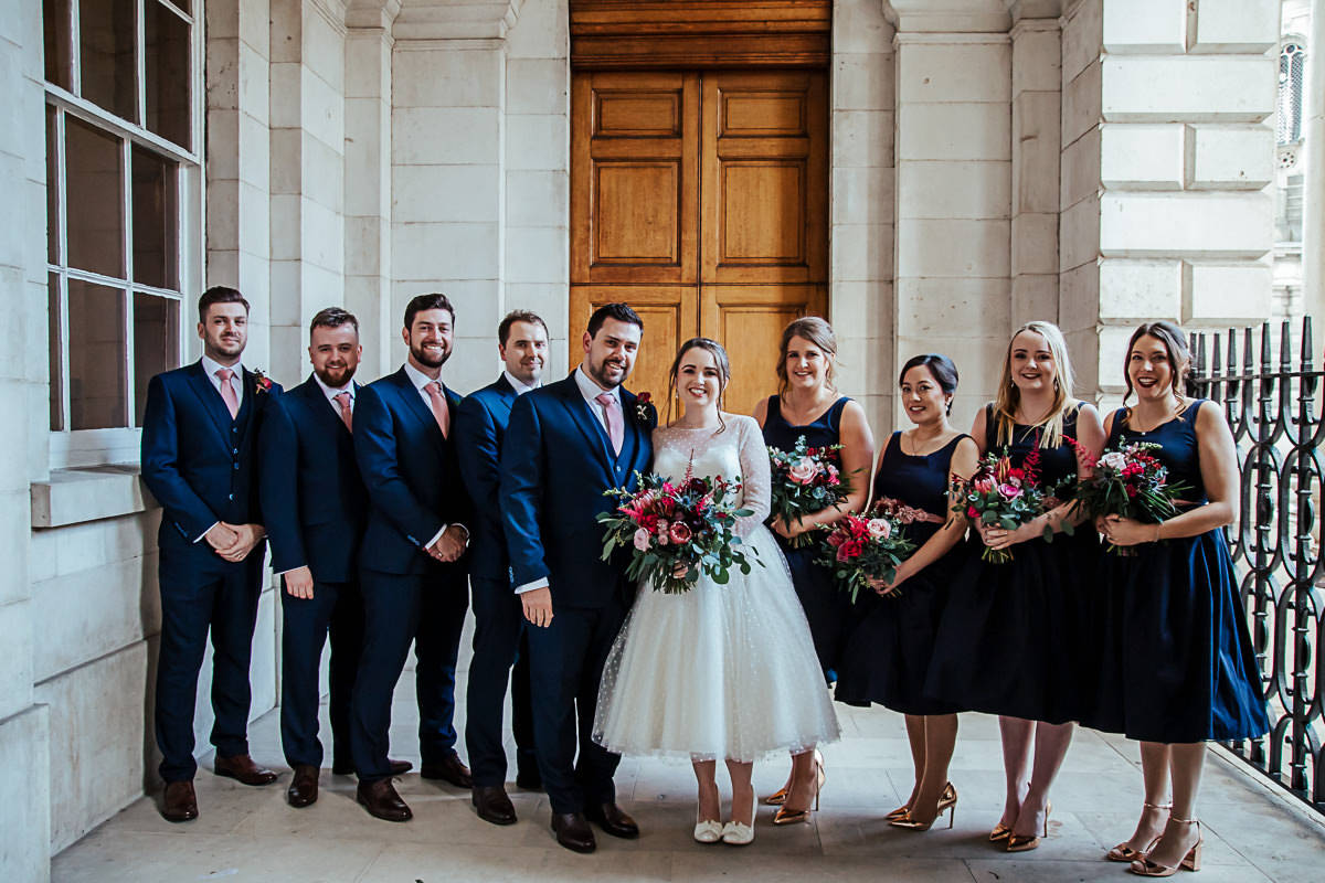 trinity college wedding vintage bridal party photo