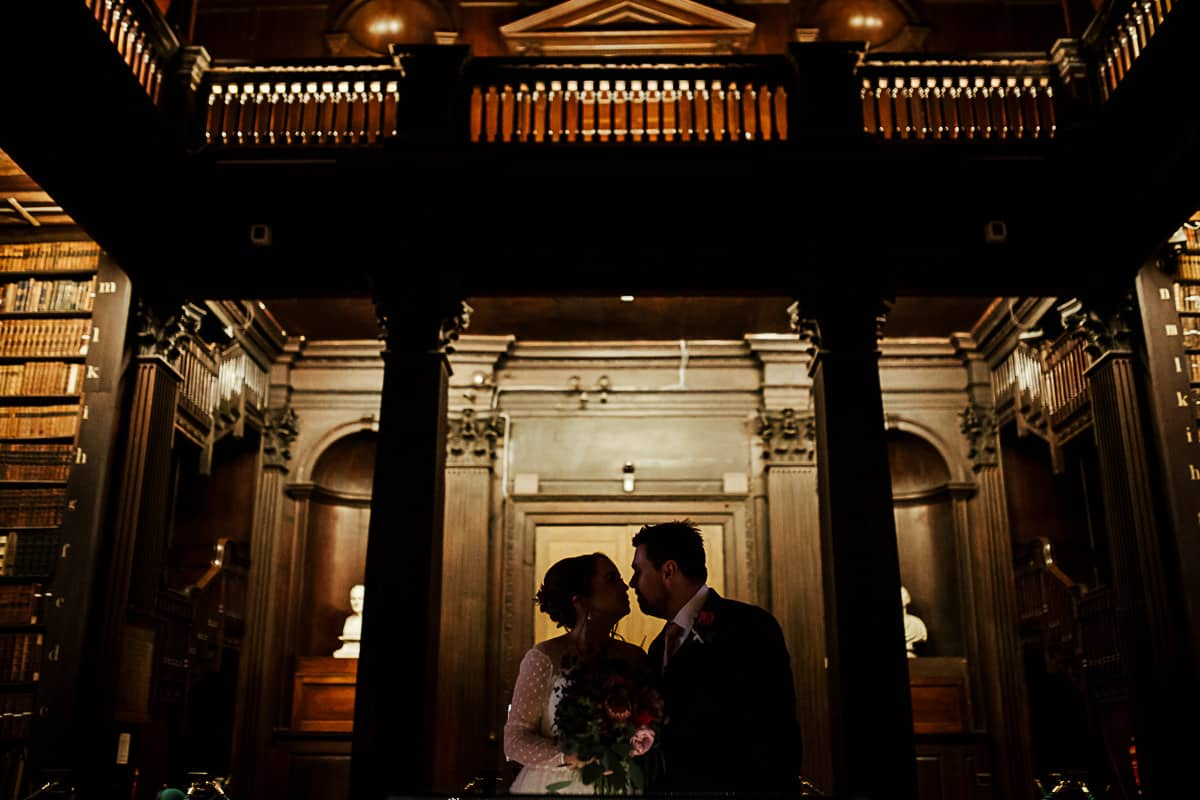 trinity college wedding long room wedding photo