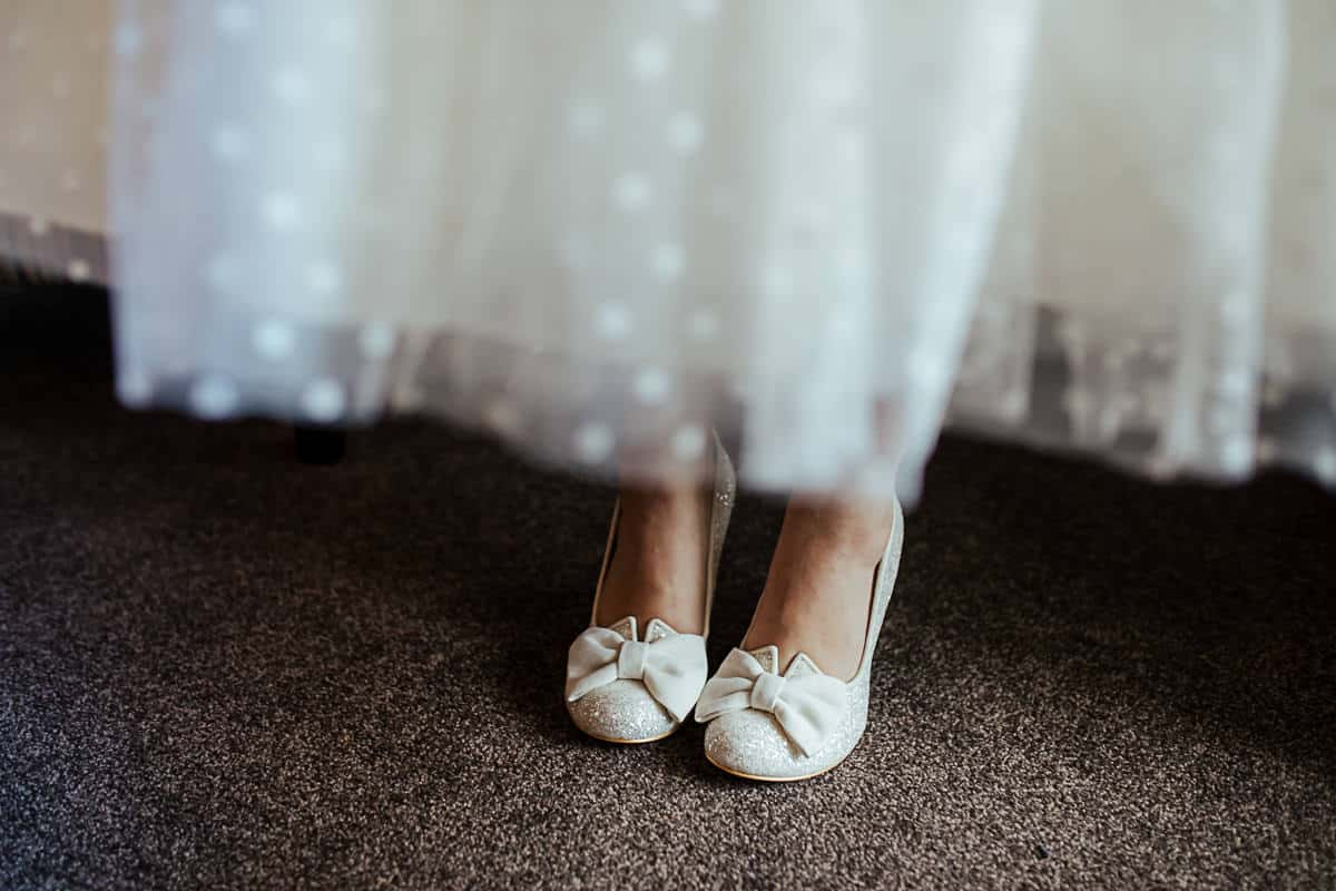 vintage wedding shoes with bow