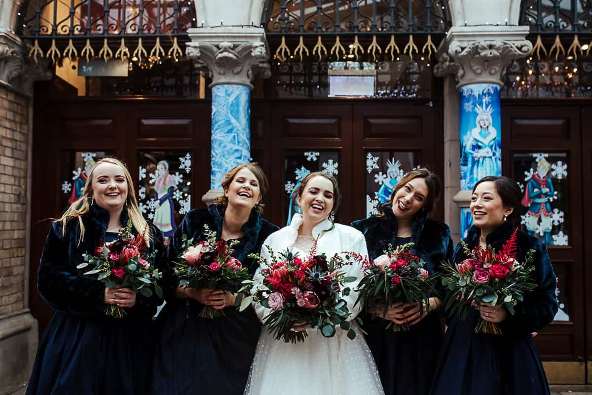 winter wedding dublin vintage tea length navy bridesmaids dresses