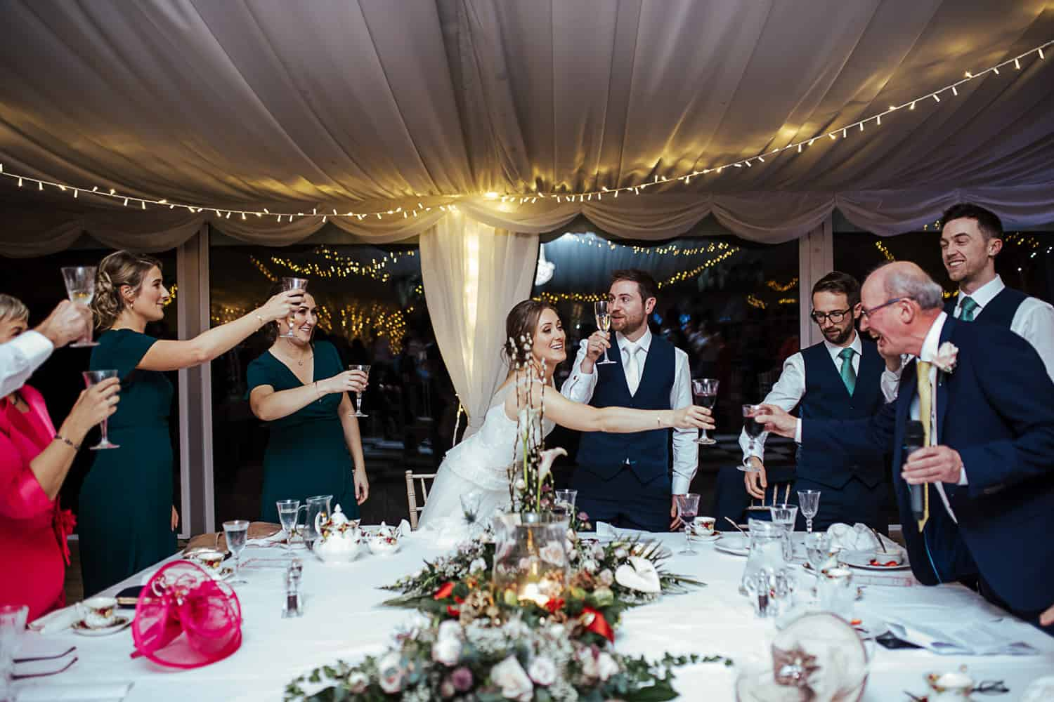 top table toast at ashley park house wedding