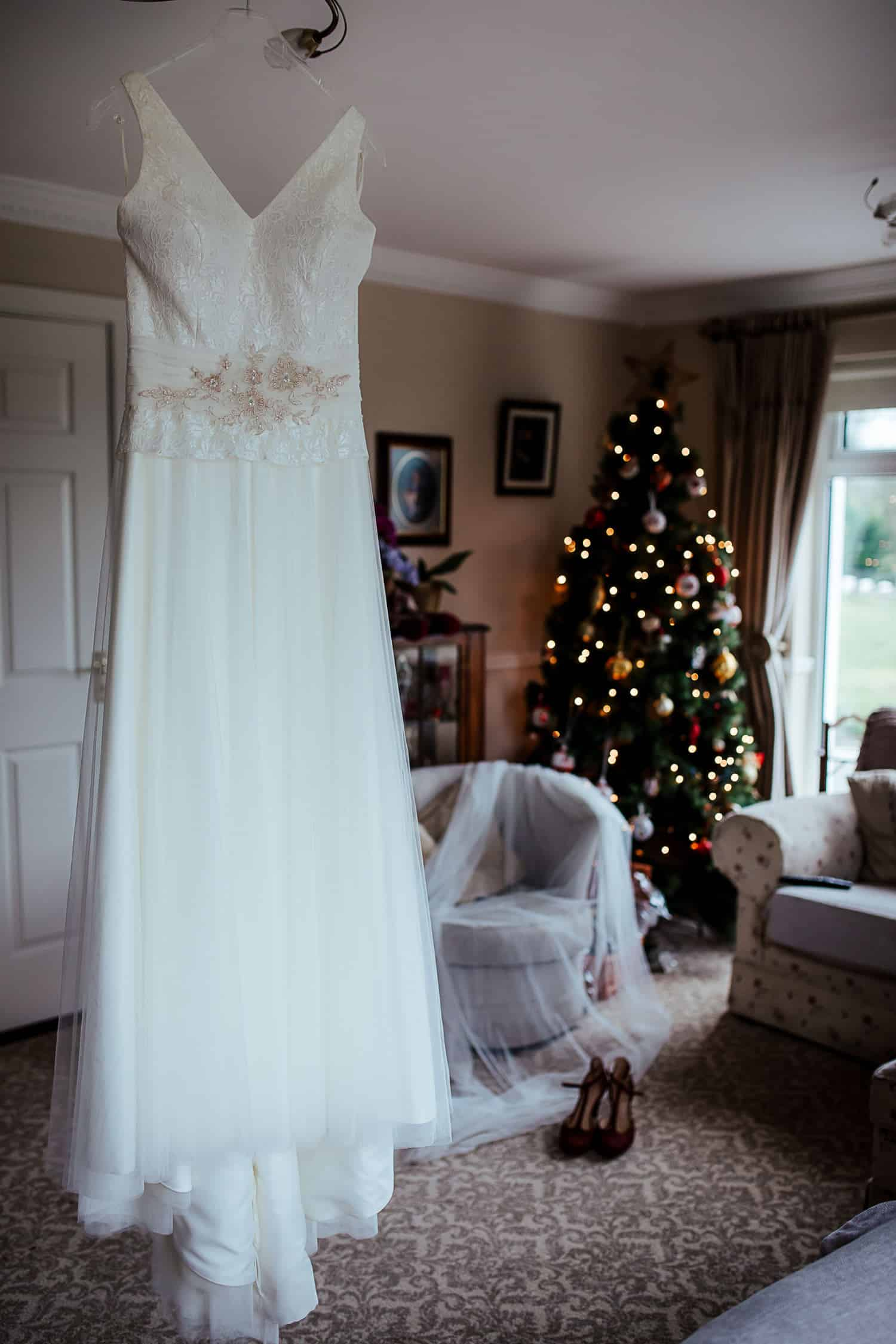 wedding dress in irish house living room christmas wedding
