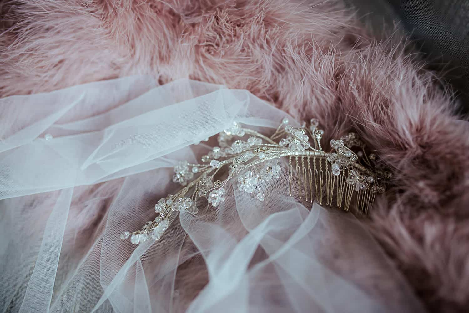 wedding hairpiece and wedding pink ostrich winter jacket