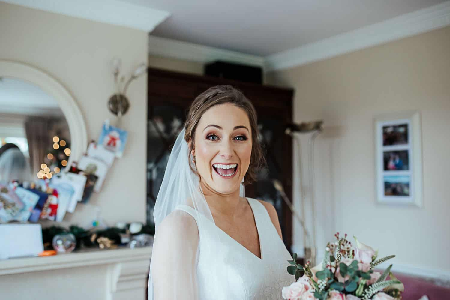 excited bride before leaving for church
