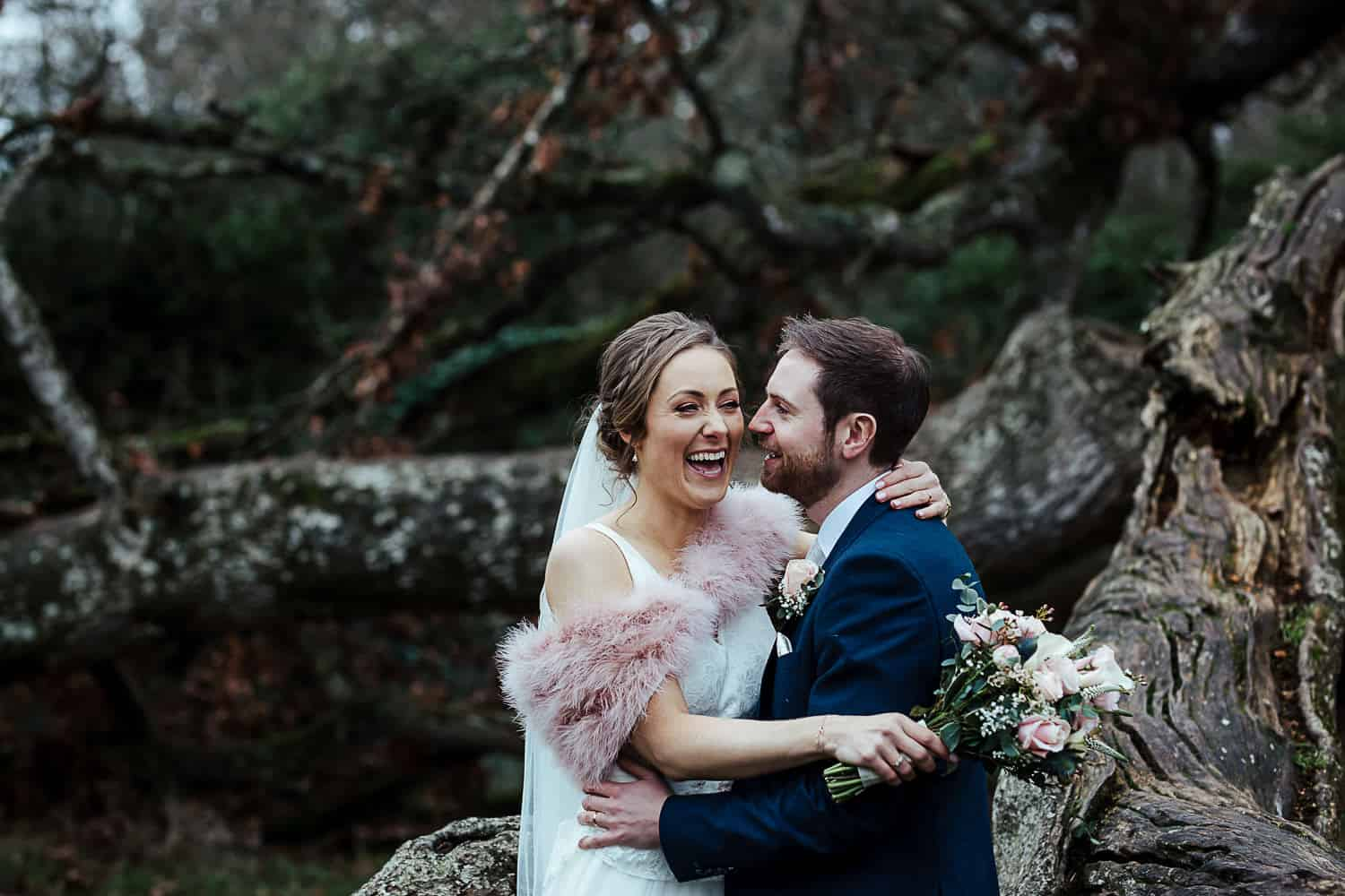 winter wedding couple portraits