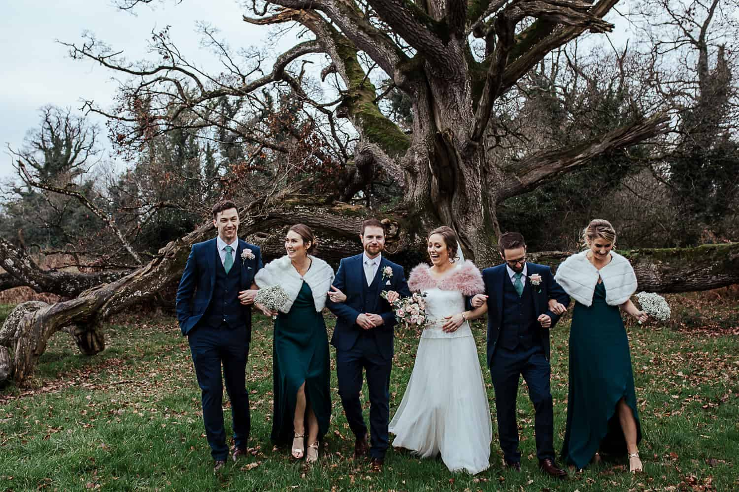 bridal party in green dresses winter wedding ireland wedding photographer