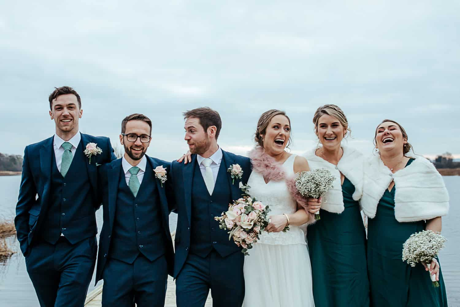 bridal party at the pier ashley park house wedding