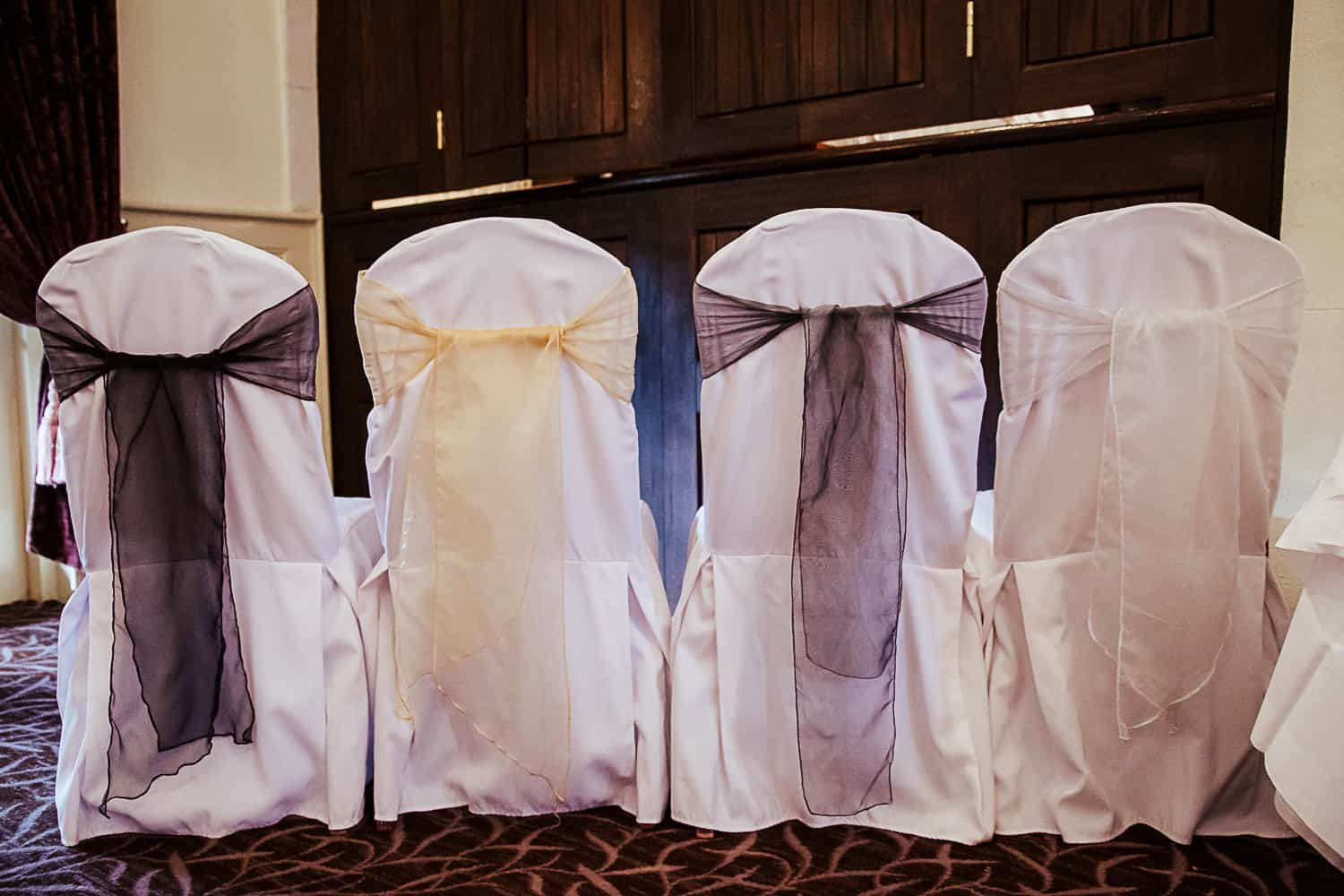 choice of colour chair sachets for weddings at brooklodge and macredding village
