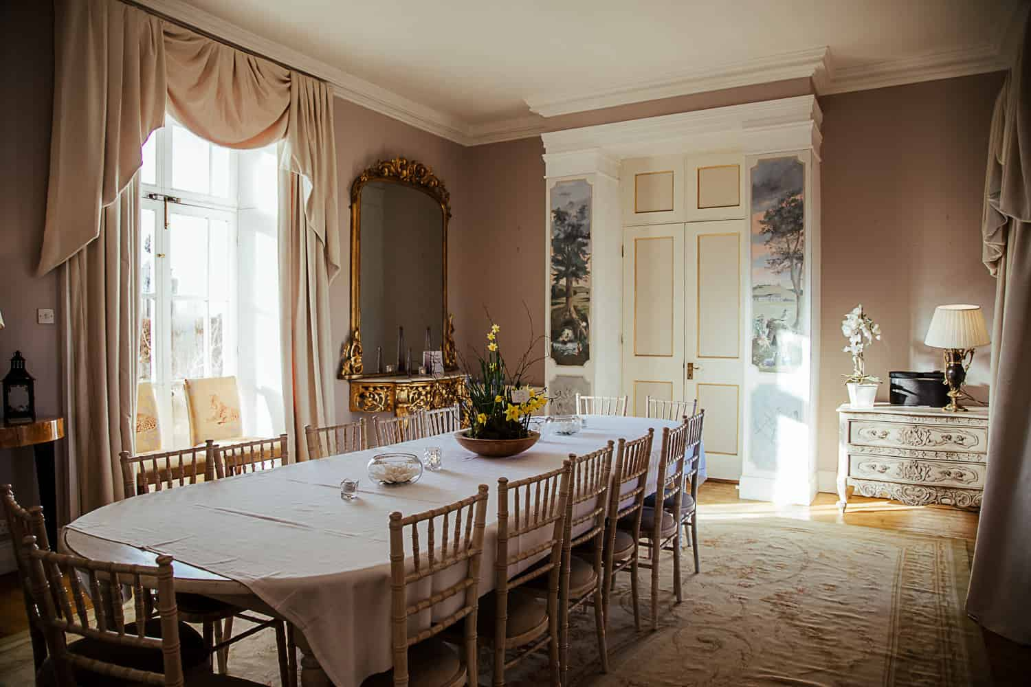 drawing room breakfast room loughchrew house wedding venue