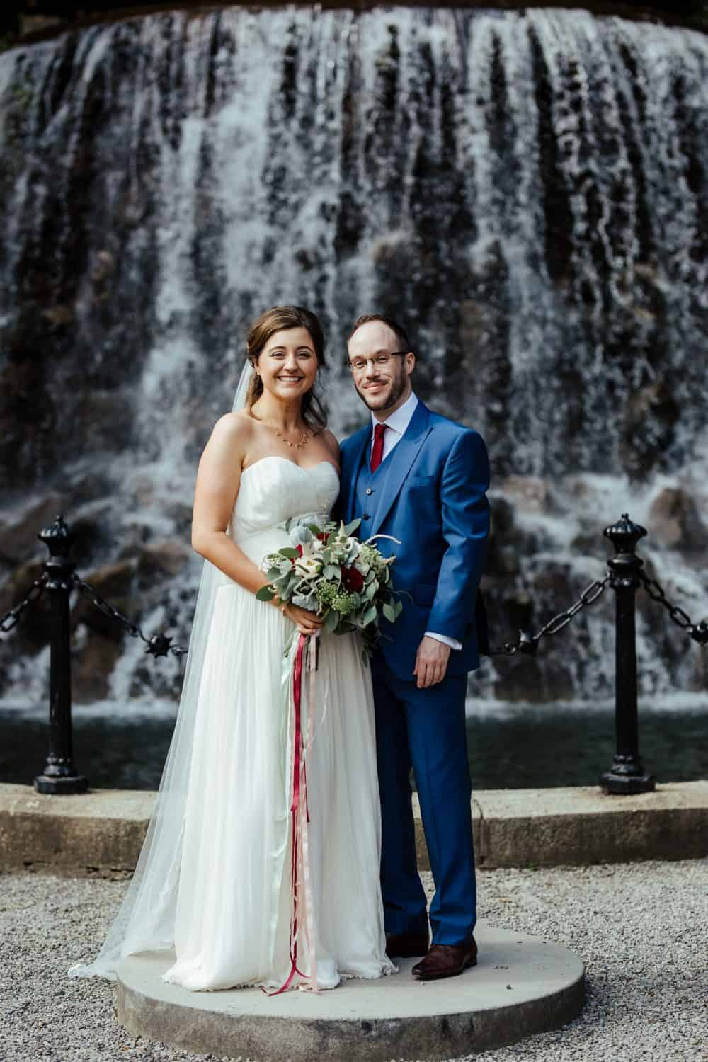 wedding photos at iveagh garden dublin at the waterfall