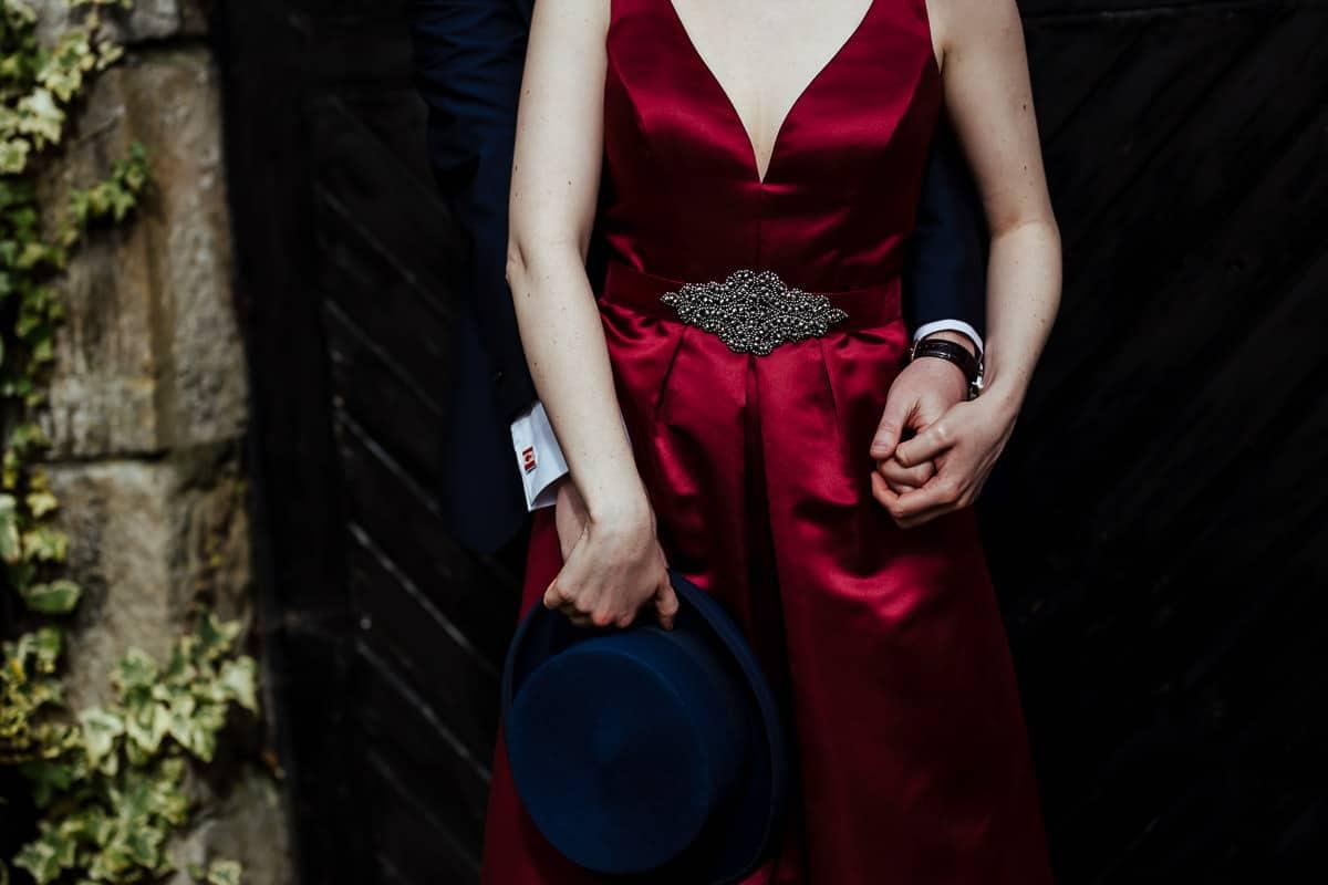 burgundy satin wedding dress with belt