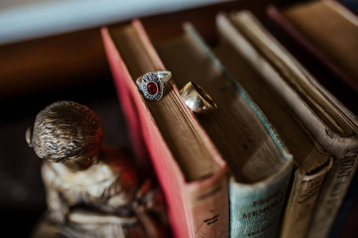 vintage wedding rings ruby and gold