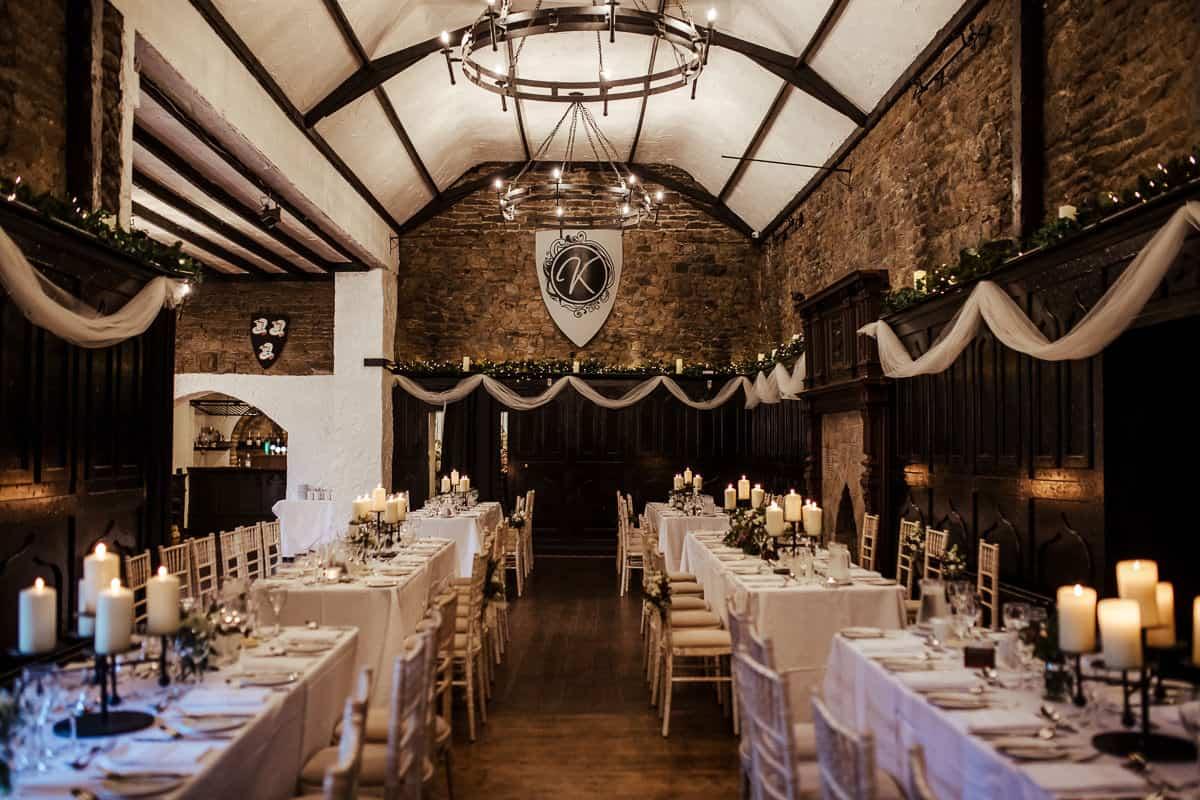 wedding dinner room at kinnity castle wedding