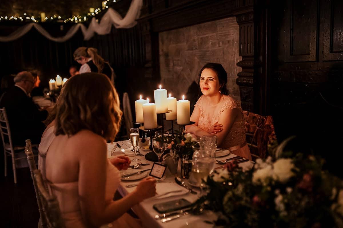 wedding dinner room candlelit at kinnity castle wedding
