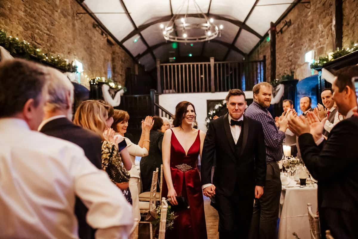 bride and groom call for dinner kinnity castle wedding