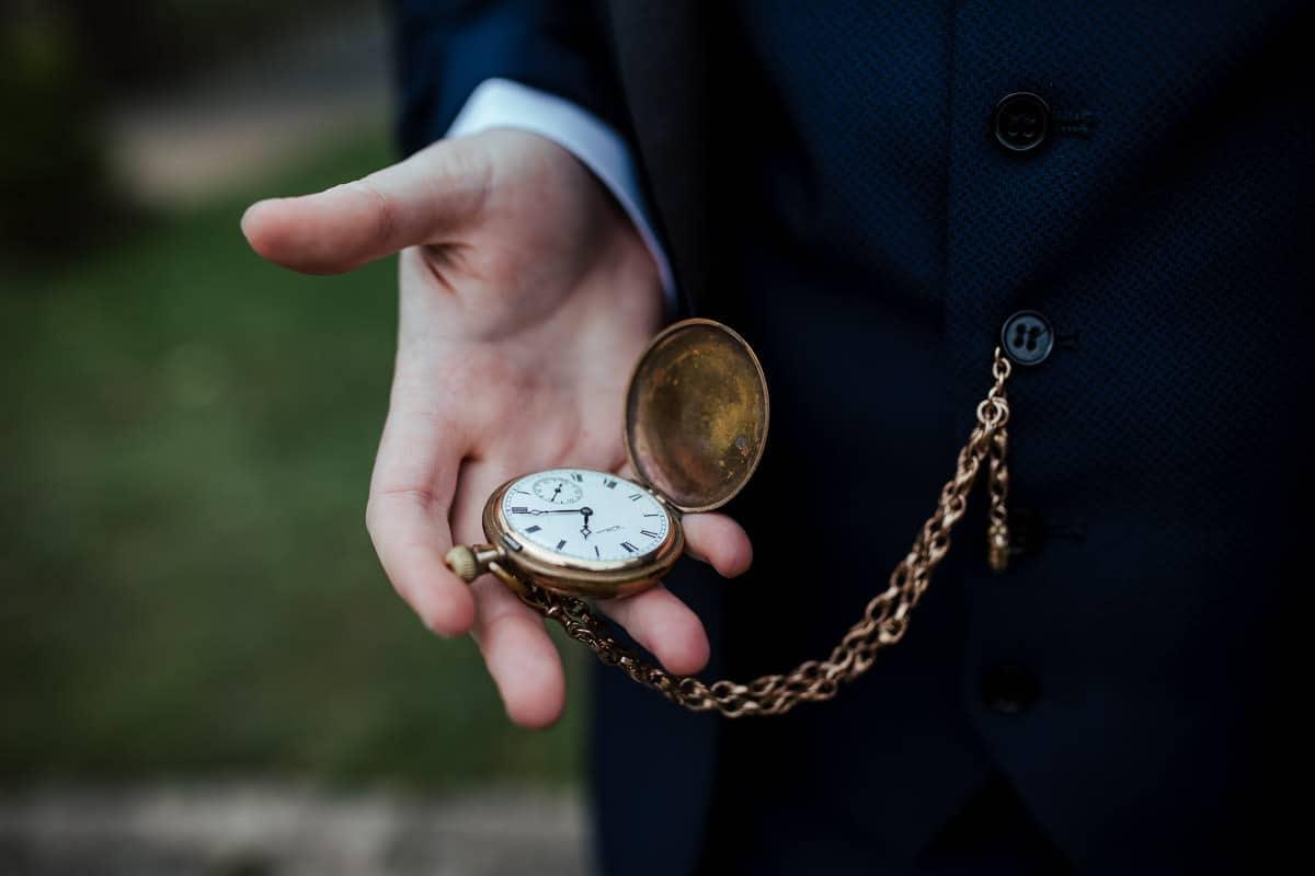 gold pocket watch wedding accessory