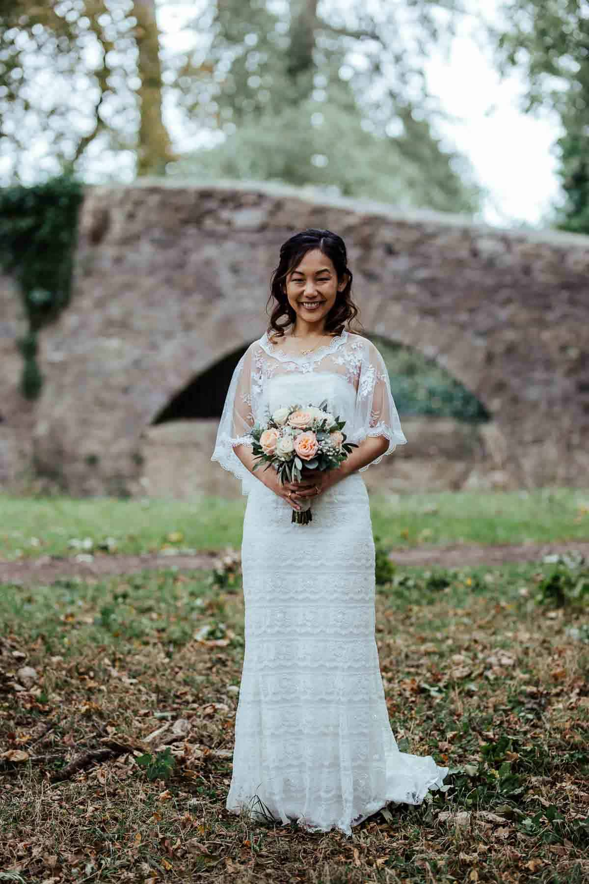bridal portrait in phoenix park autumn wedding in wrights anglers rest