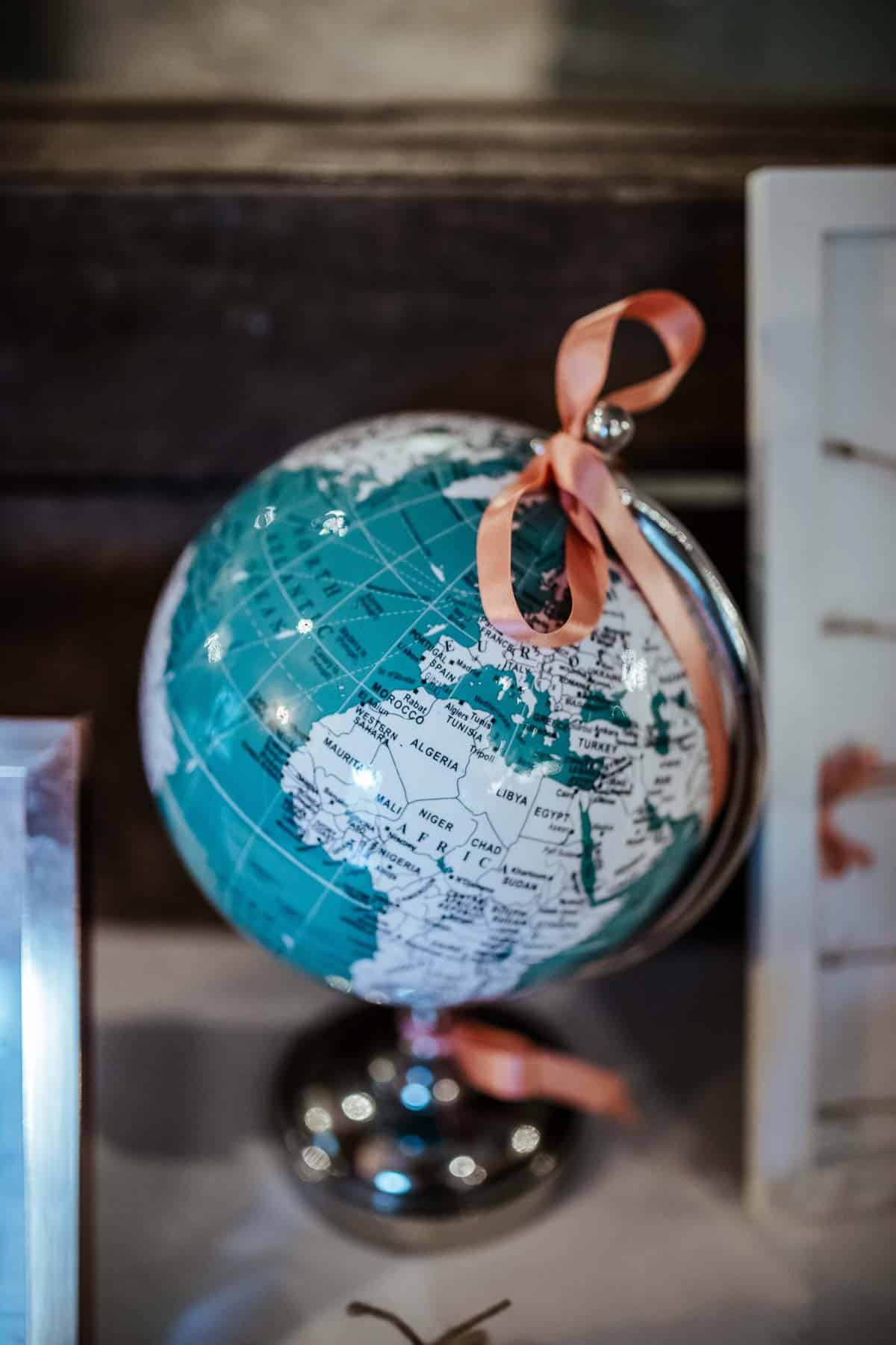 travel theme wedding decor globe wrights anglers rest wedding dublin