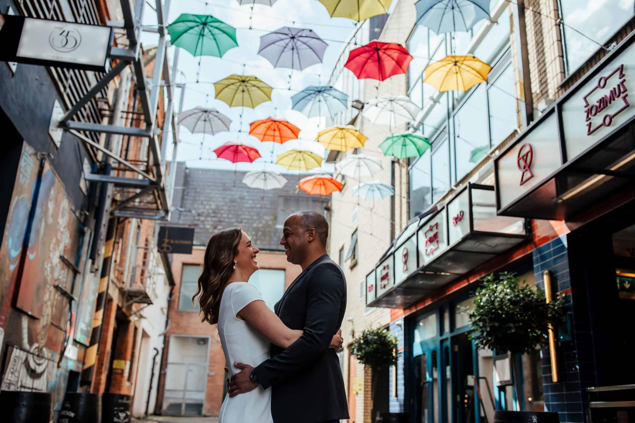 wedding photo in dublin umbrellas