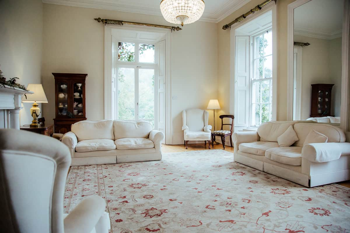 white drawing room in trudder lodge wedding venue