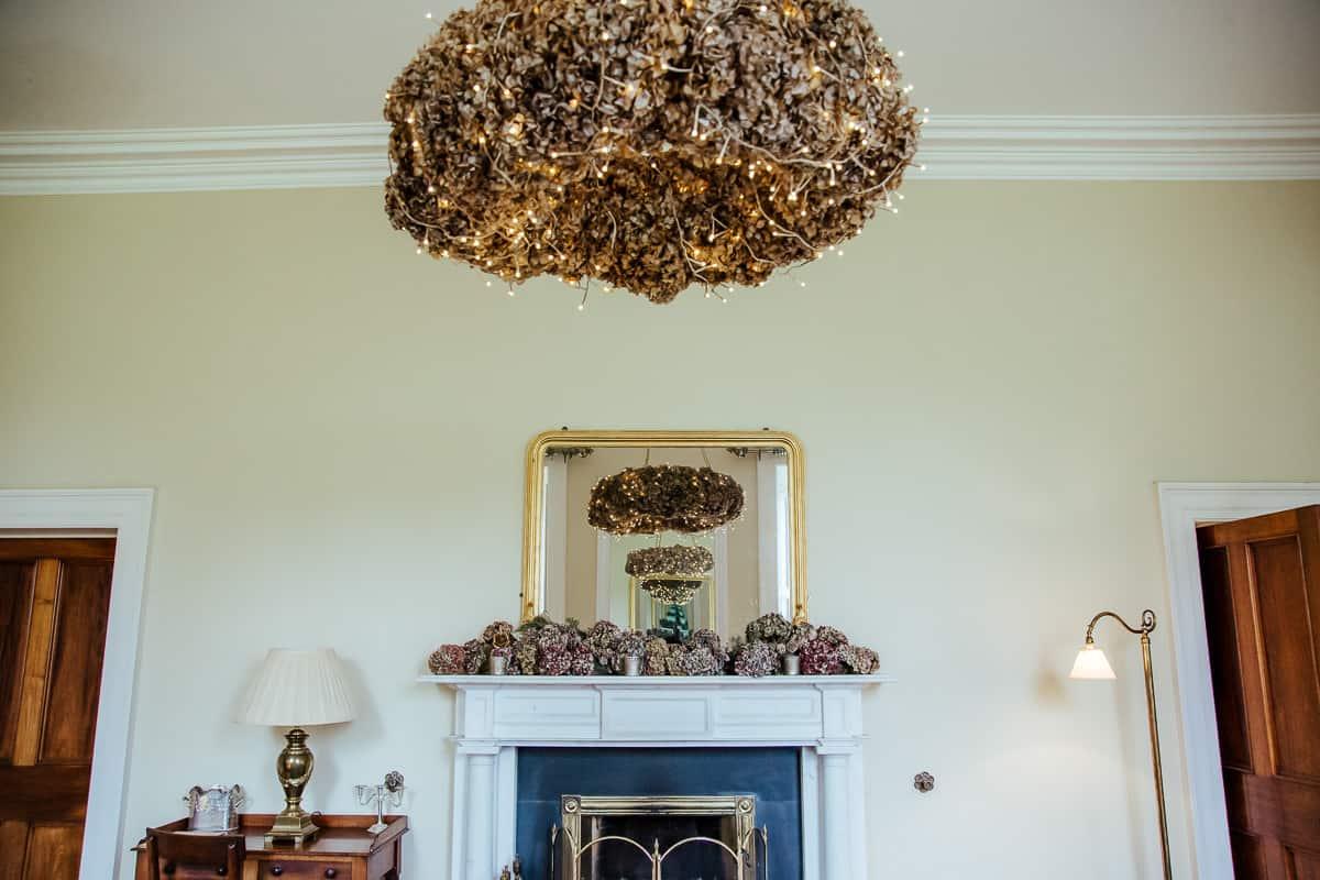 dried hydrangea floral chandelier