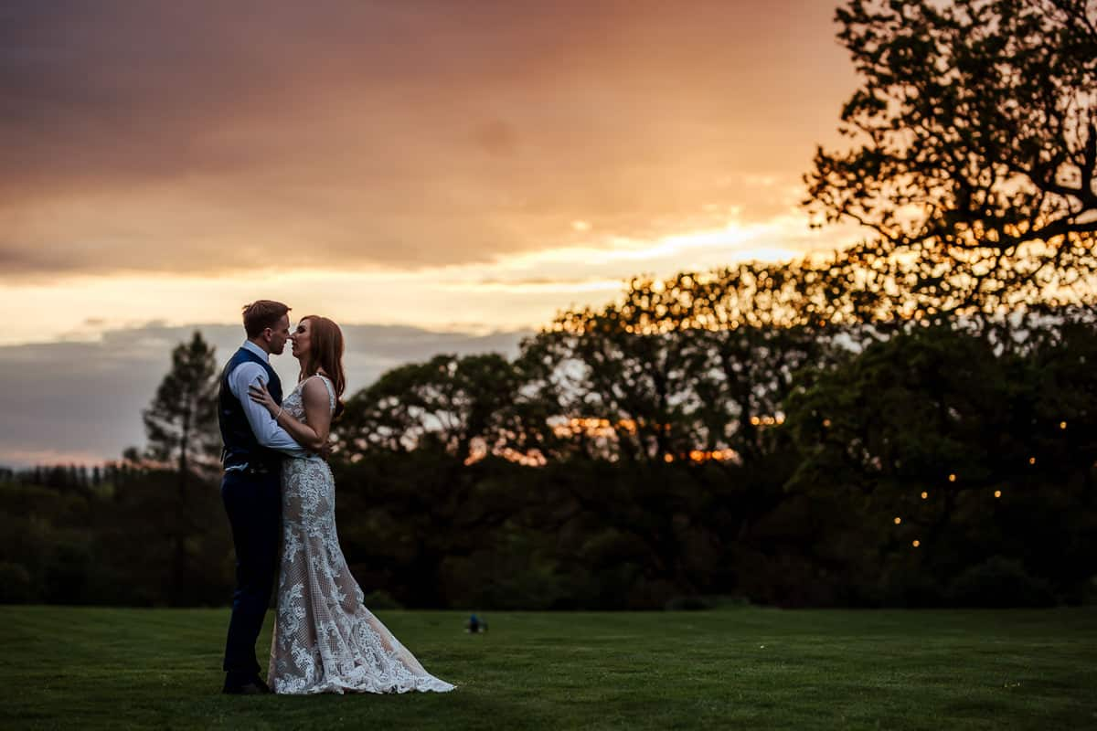 sunset photo at rathsallagh house wedding in may