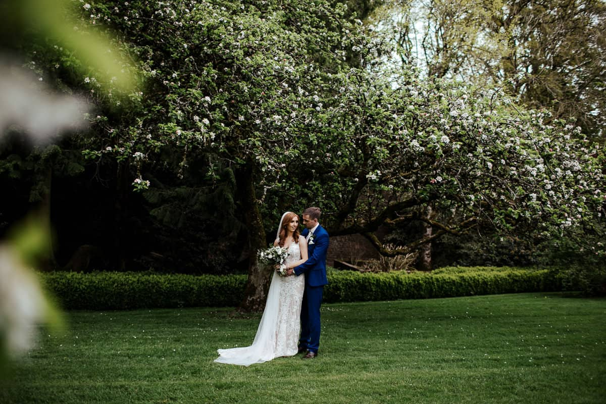 couple in spring orchard rathsallagh house wedding