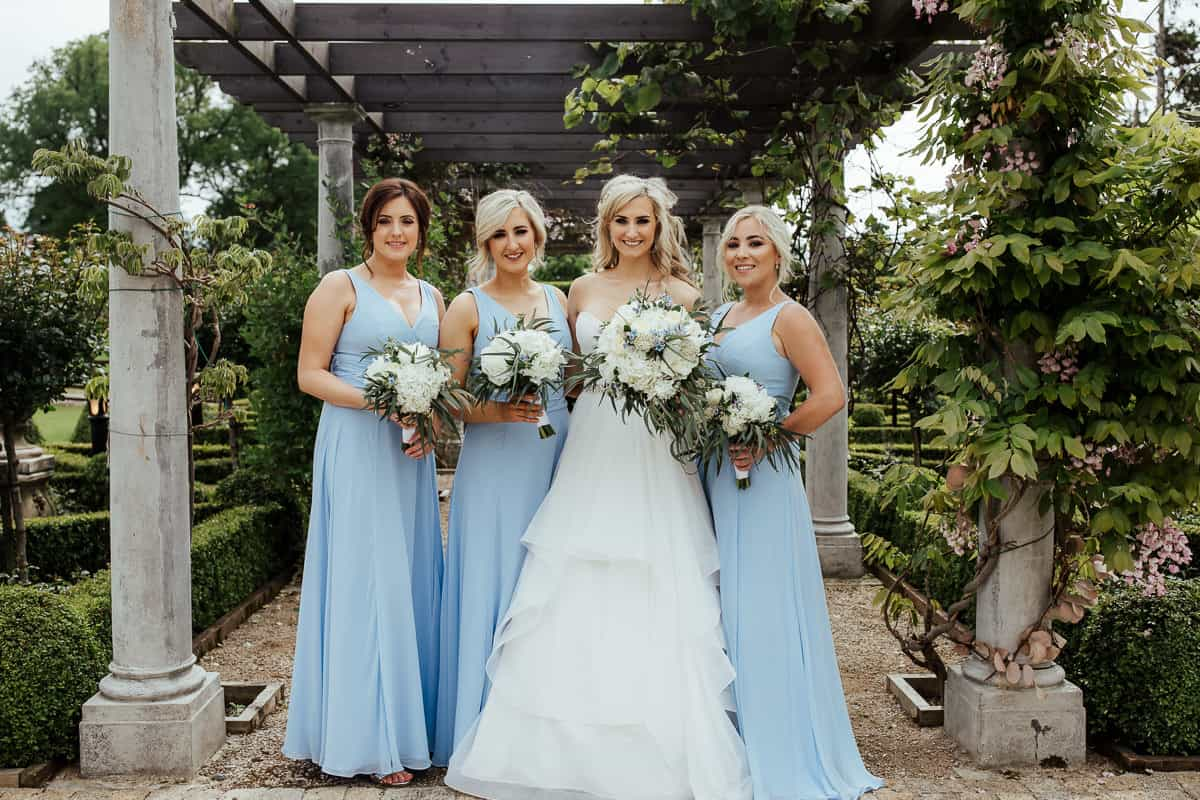 sky blue bridesmaids dresses bellingham castle wedding