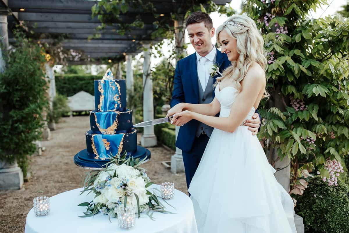 blue geode wedding cake bellingham castle wedding