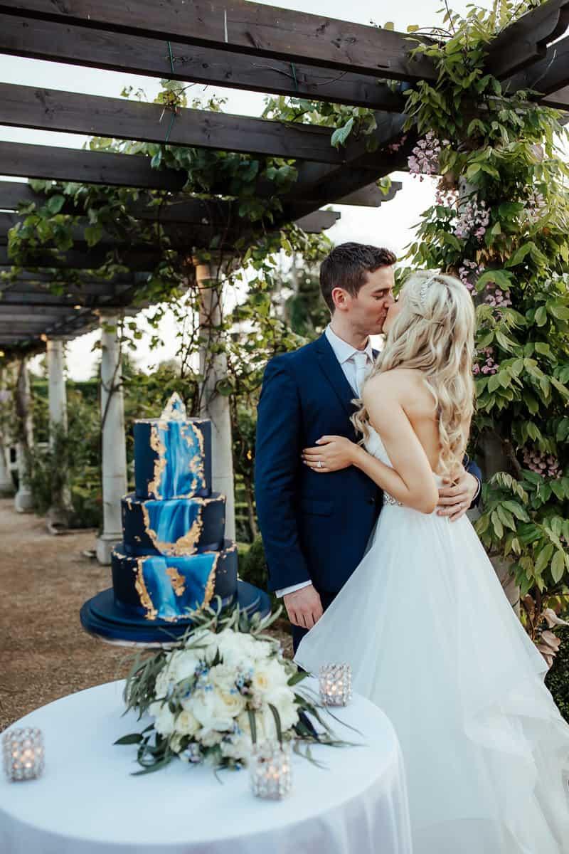 blue geode wedding cake bellingham castle wedding
