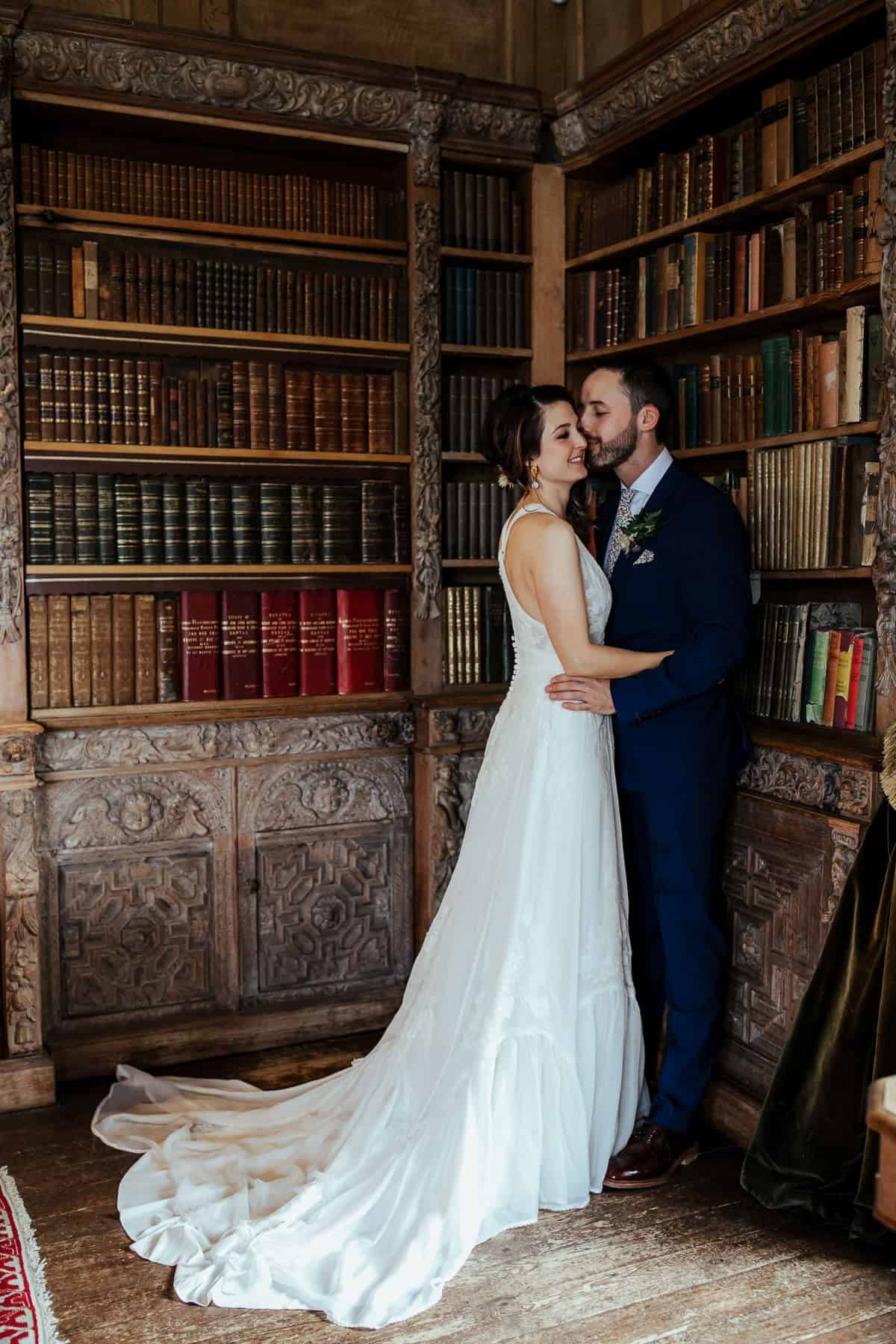wedding couple in lisnavagh house library